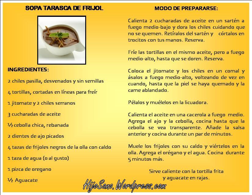 Sopa Tarasca de Frijoles