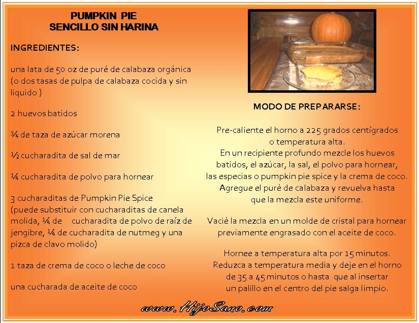 Pumpkin Pie sin Harina